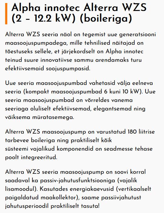 Alpha WZS kirjeldus
